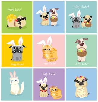 Carte di pasqua con persone, cucciolo di cane carino, ratto, panda e gatto con orecchie di coniglio, fiore di primavera, uovo e testo disegnato a mano