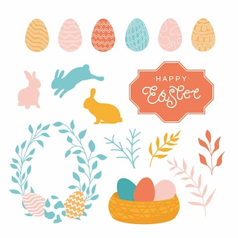 Il fumetto di pasqua ha messo con i coniglietti e le uova ha isolato l'illustrazione di vettore