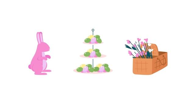 Insieme dettagliato di oggetti di colore piatto celebrazione di pasqua