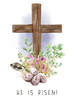 Croce cristiana di pasqua con felci verdi, uova e piume, decorazione di pasqua, illustrazione dell'acquerello disegnato a mano