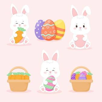 Collezione di pasqua. simpatico coniglio con le uova.