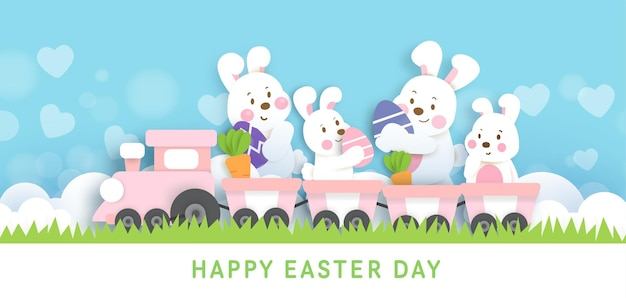 Priorità bassa di giorno di pasqua e banner con conigli carini e uova di pasqua