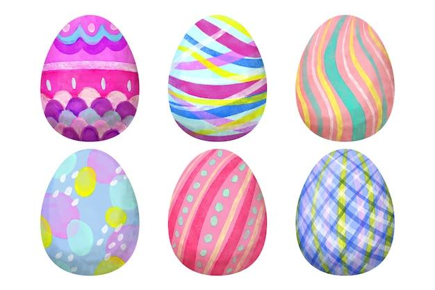 Progettazione dell'acquerello del pacchetto dell'uovo di giorno di pasqua