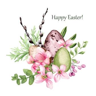 Decorazioni di pasqua, tre uova di pasqua con salice e fiori, illustrazione dell'acquerello disegnato a mano.