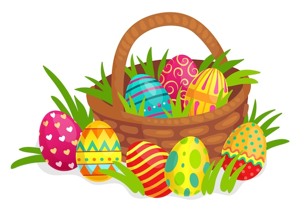 Uova decorate di pasqua in cestino di vimini. uova colorate con decorazioni di cuori, linee, punti e vortici per la celebrazione delle vacanze. simbolo dipinto luminoso per pasqua con illustrazione vettoriale di erba