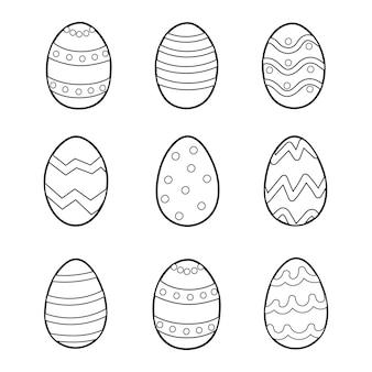 Pasqua doodle uova con ornamento da colorare pagina illustrazione