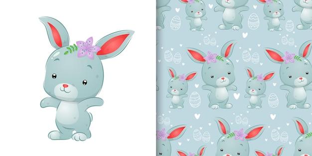 Edizione di pasqua con l'illustrazione del coniglio dell'acquerello nell'illustrazione dell'insieme del modello