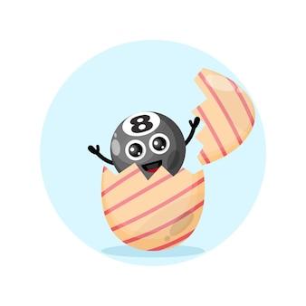 Uovo di pasqua palla da biliardo simpatico personaggio mascotte