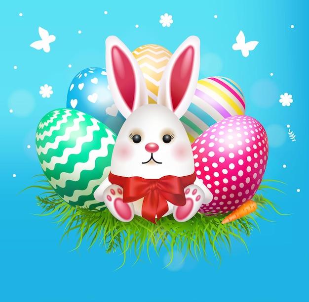 Testa di coniglio coniglietto di uovo di pasqua. illustrazione vettoriale per banner o arredamento.