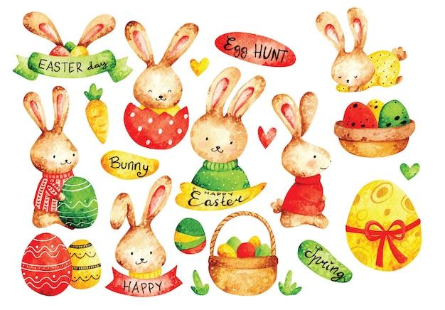 Stile acquerello uovo di pasqua e coniglietto