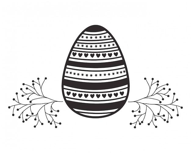 Icona isolata dei fiori e delle foglie dell'uovo di pasqua
