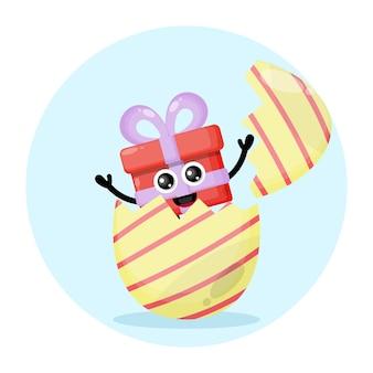 Uovo di pasqua regalo simpatico personaggio logo