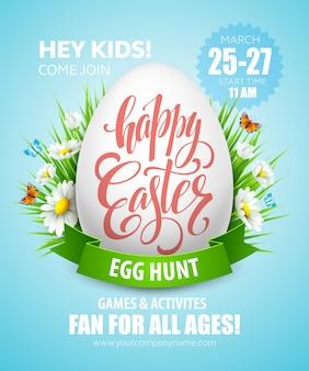 Poster di caccia alle uova di pasqua.