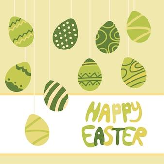 Collezione di icone dell'uovo di pasqua in stile doodle. illustrazione disegnata a mano. priorità bassa della bandiera.