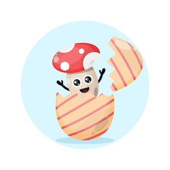 Uovo di pasqua fungo simpatico personaggio mascotte