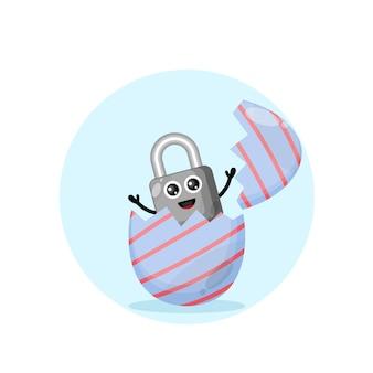 Uovo di pasqua lucchetto simpatico personaggio mascotte