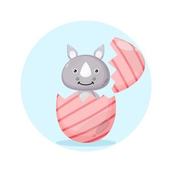 Logo del simpatico personaggio di rinoceronte dell'uovo di pasqua