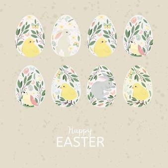 Uovo di pasqua con uccello, coniglietto. . Vettore Premium