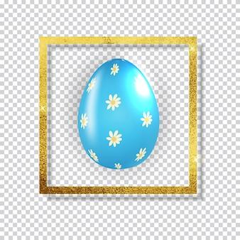 Uovo di pasqua con schizzi di vernice e cornice dorata