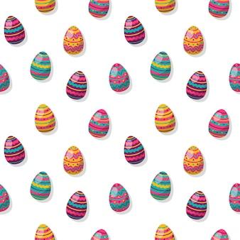 Sfondo di uova di pasqua. modello senza cuciture con uova colorate in stile cartone animato. buone vacanze di primavera.