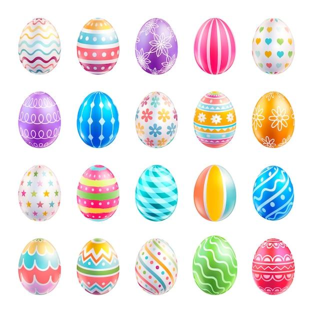 Colore delle uova di pasqua con motivi diversi
