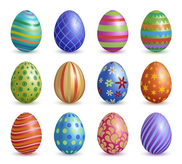 Uova di pasqua. decorazione grafica floreale colorata per la raccolta realistica delle uova di simboli di celebrazione di pasqua.