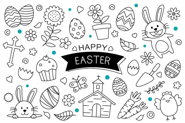 Uova di pasqua doodle disegnato a mano su sfondo bianco. oggetti dell'elemento isolato di pasqua felice.