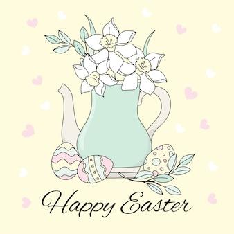 Insieme dell'illustrazione di vettore di festa religiosa dell'uovo di pasqua grande