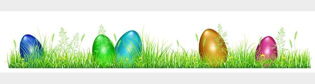 Uova di pasqua in erba verde con denti di leone e spighette su sfondo bianco
