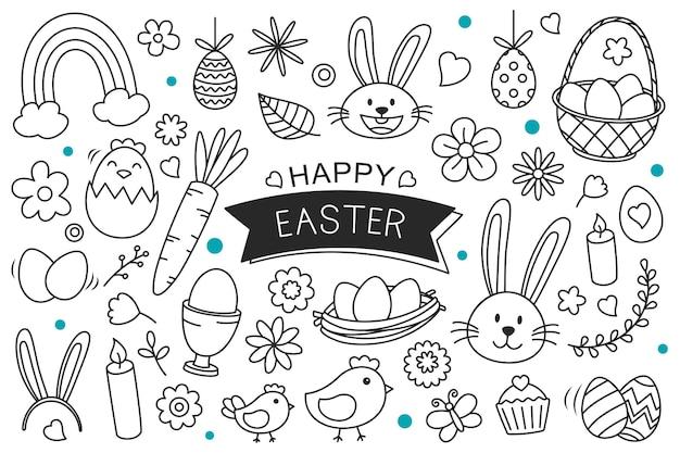 Uova di pasqua disegnate a mano su sfondo bianco. oggetti dell'elemento isolato di pasqua felice.