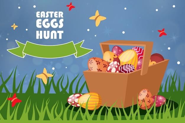 Modello di caccia delle uova di pasqua, illustrazione. attributo festivo di diversi colori, stampa in cestino di vimini rurale, flyear.