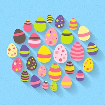 L'icona delle uova di pasqua ha messo su un blu. illustrazione vettoriale
