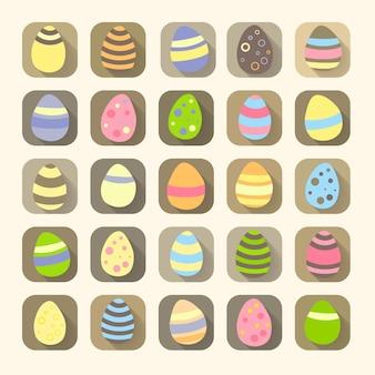 Simboli delle icone delle uova di pasqua. illustrazione vettoriale