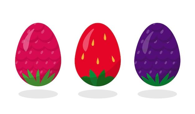 Uova di pasqua dipinte come bacche: fragola, lampone e mora.