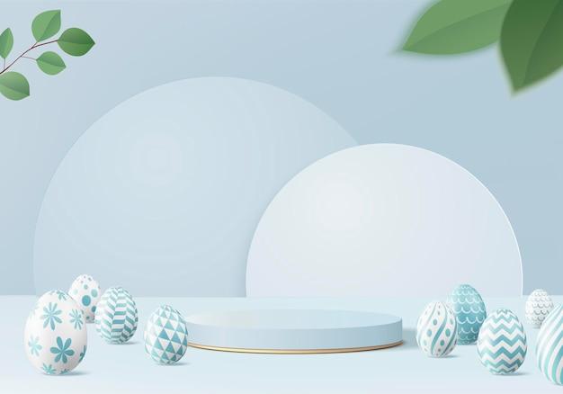 Podio delle uova di pasqua con il rendering 3d nella priorità bassa blu della scena.