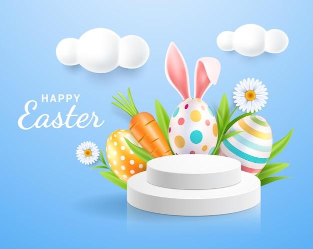 Uova di pasqua e orecchie di coniglio con espositore e sfondo di fiori di margherite.