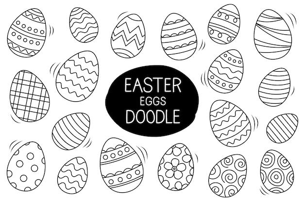 Le uova di pasqua hanno impostato lo stile di doodle. disegnato a mano di pasqua felice isolato su priorità bassa bianca.