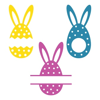 Set di uova di pasqua monogramma di uova di pasqua con orecchie coniglietto di buona pasqua