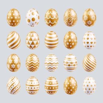 Le uova di pasqua hanno impostato il colore oro con forme diverse Vettore Premium