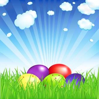 Uova di pasqua con erba,