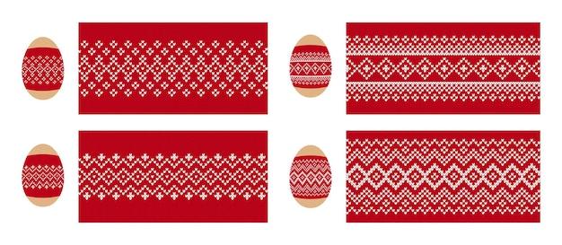 Uova di pasqua con illustrazione di stampa a maglia