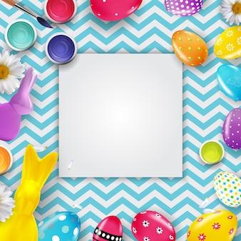 Modello di cornice di pasqua con uova di pasqua realistiche 3d e coniglietto