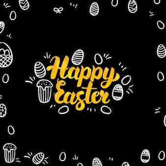 Pasqua oro e design nero. illustrazione vettoriale di calligrafia per le vacanze di primavera con schizzi disegnati a mano.