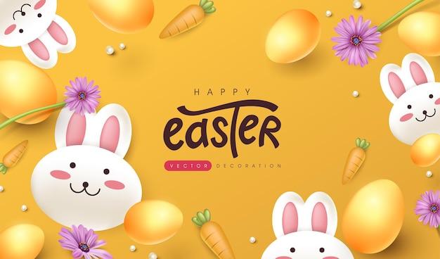 Fondo della cartolina d'auguri di pasqua con coniglio sveglio e uova di pasqua colorate.