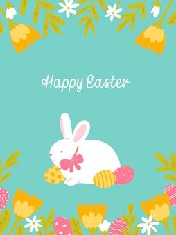 Biglietto di auguri di pasqua simpatico coniglietto su sfondo blu illustrazione vettoriale in stile piatto