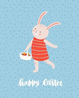 Modello di biglietto di auguri di pasqua con simpatico coniglietto o coniglio che cammina e trasporta cesto pieno di uova decorate e scritte natalizie scritte a mano con carattere corsivo illustrazione del fumetto piatto.