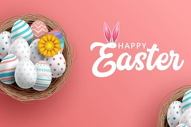 Biglietto di auguri di pasqua con uova colorate