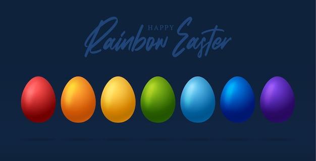 Biglietto di auguri di pasqua con le uova di colori dell'arcobaleno