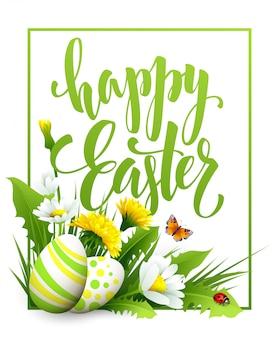 Auguri di pasqua. lettering uovo di fiori.