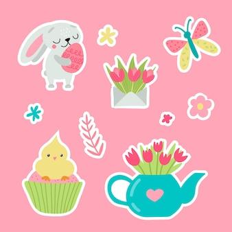 Adesivi di auguri di pasqua con coniglietto. illustrazione vettoriale. set di simpatici personaggi dei cartoni animati ed elementi di design.